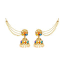 Kriaa Gold Plated Kundan Jhumki Kan Chain Earrings