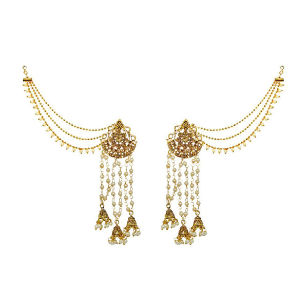 Kriaa Stone Gold Plated Pearl Kan Chain Earrings