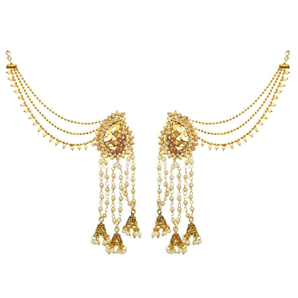 Kriaa Gold Plated Stone Pearl Kan Chain Earrings