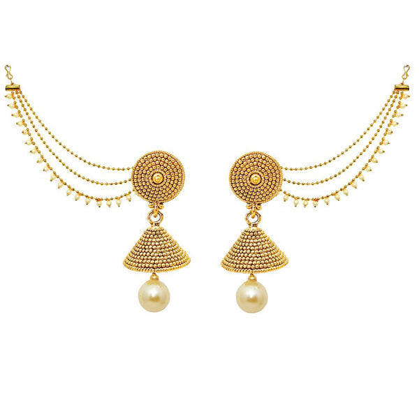 Kriaa Gold Plated Pearl Jhumki Kan Chain Earrings