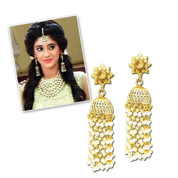 Kriaa Gold Plated Stone And Pearl Polki Jhumki Earrings