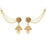Kriaa Stone Gold Plated Pearl Jhumki Kan Chain Earrings