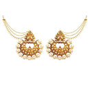 Kriaa Stone Gold Plated Chandbali Kan Chain Earrings
