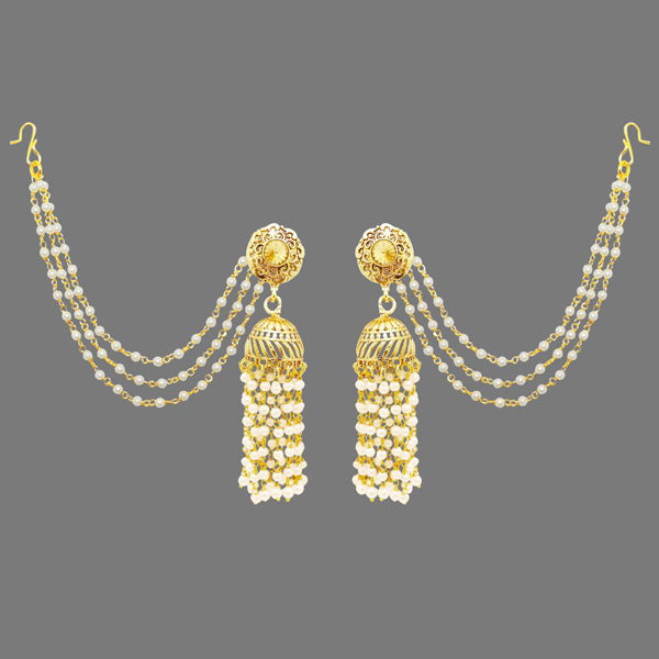 Kriaa Pearl Stone Gold Plated Polki Jhumki Kan Chain Earrings