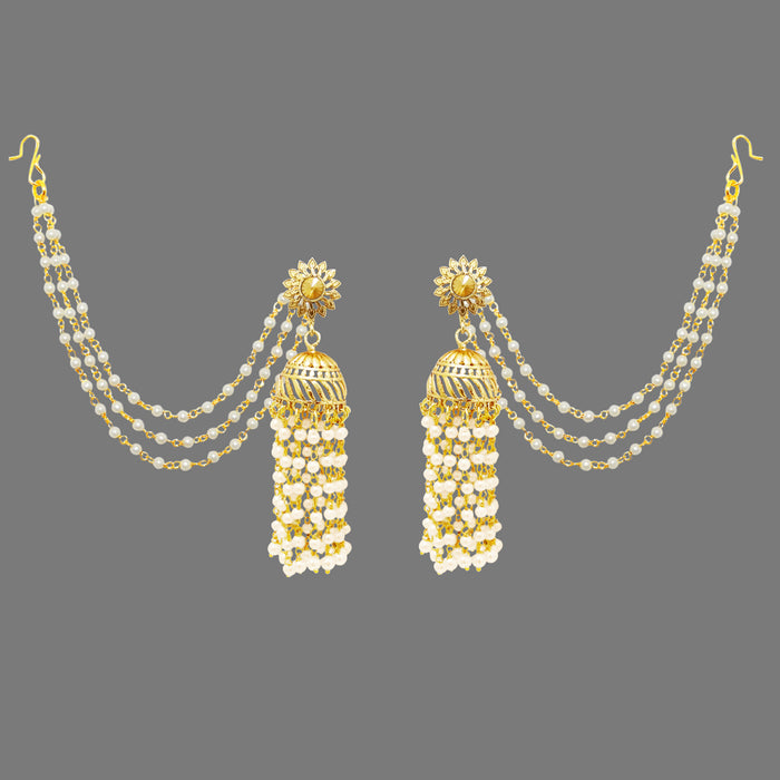 Kriaa Gold Plated Pearl Polki Jhumki Kan Chain Earrings