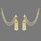 Kriaa Gold Plated Stone Pearl Polki Jhumki Kan Chain Earrings
