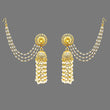 Kriaa Stone Pearl Gold Plated Polki Jhumki Kan Chain Earrings