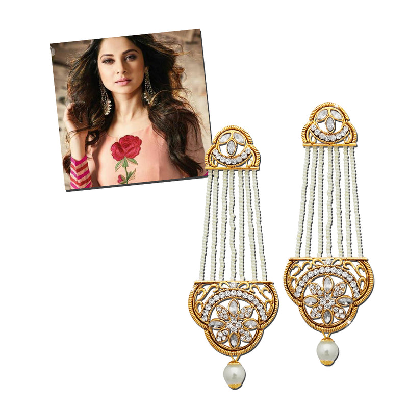 Kriaa Gold Plated Stone And Pearl Dangler Earrings