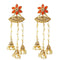 Kriaa Gold Plated Austrian Stone Pearl Dangler Earrings