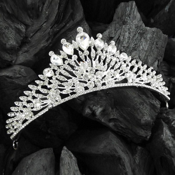 Kriaa White Austrian Silver Plated Stone Crown