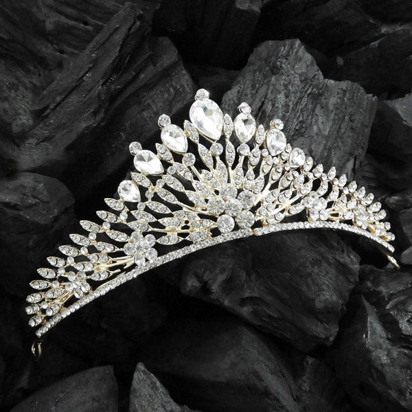 Kriaa Gold Plated White Austrian Stone Crown