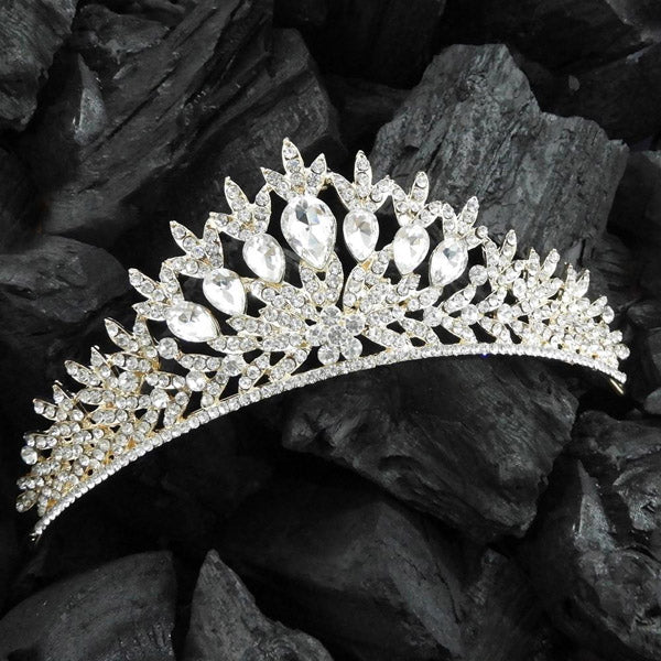 Kriaa White Austrian Stone Gold Plated Crown