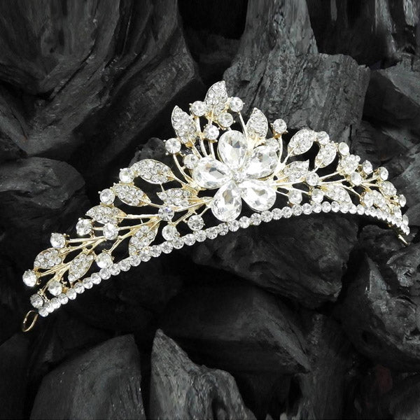 Kriaa Gold Plated White Austrian Stone Floral Crown