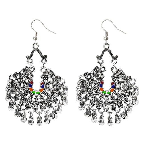 Kriaa Multi Meenakari Silver Plated Afghani Dangler Earrings - Jewelmaze.com