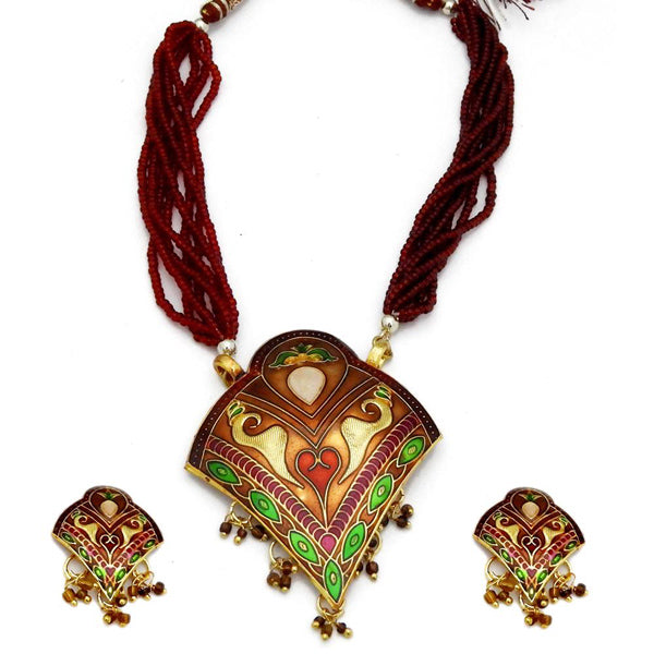 Kriaa Gold Plated Meenakari Beads Thewa Necklace Set