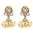 Kriaa Gold Plated Stone Pearl Jhumki Earrings