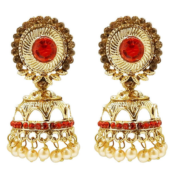Kriaa Stone And Pearl Gold Plated Jhumki Earring