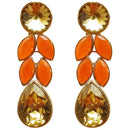 Kriaa Gold Plated Orange Resin Stone Dangler Earring