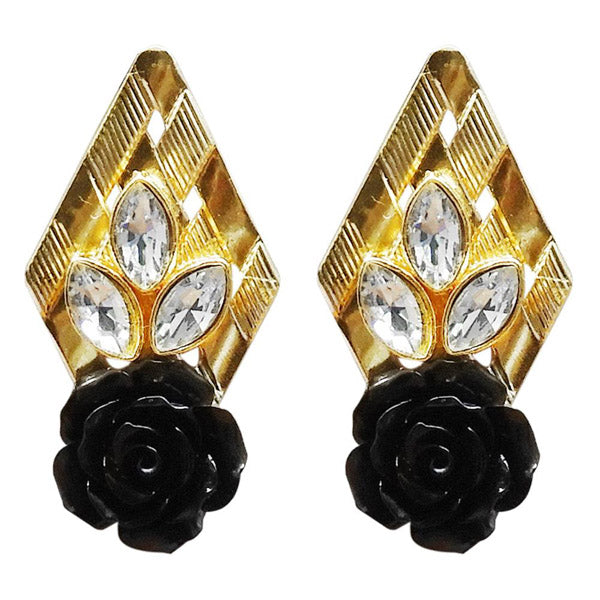 Kriaa Resin Stone Gold Plated Floral Dangler Earring