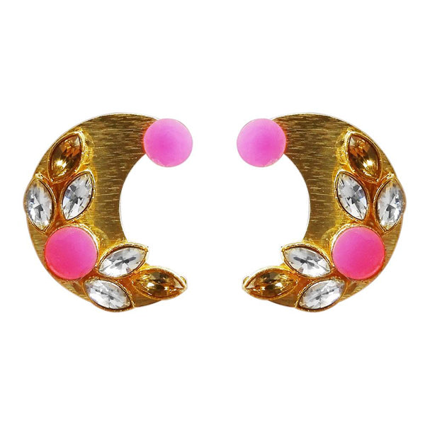 Kriaa Gold Plated Resin Stone Stud Earrings