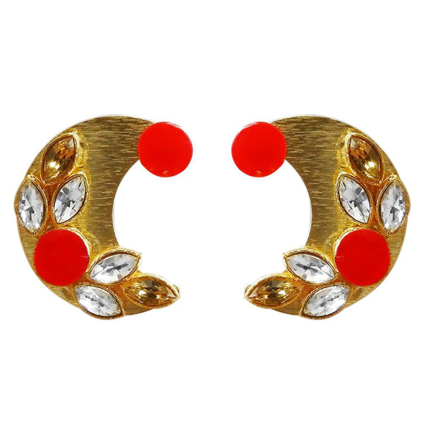 Kriaa Gold Plated Resin Stone Stud Earring