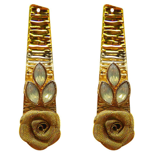 Kriaa Gold Plated Resin Stone Floral Dangler Earring