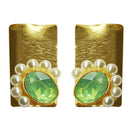 Kriaa Resin Stone Pearl Gold Plated Studs Earring