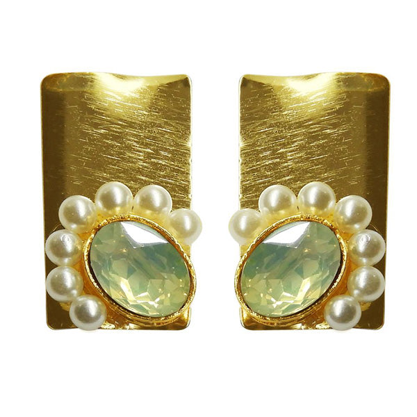 Kriaa Resin Stone Pearl Gold Plated Dangler Earrings