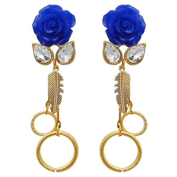 Kriaa Resin Stone Gold Plated Floral Dangler Earrings