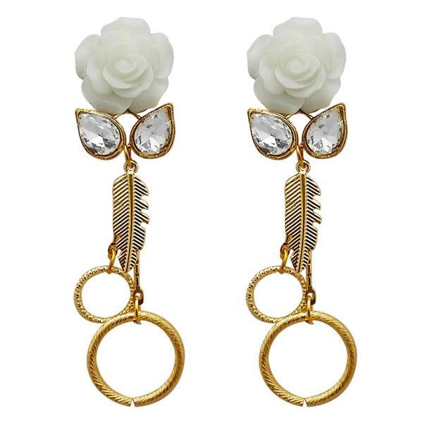 Kriaa Gold Plated Resin Stone Floral Dangler Earrings