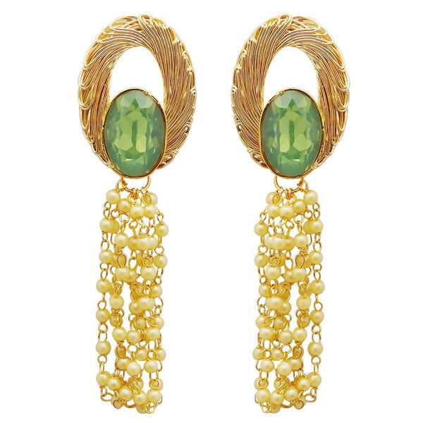Kriaa Resin Stone Gold Plated Dangler Earrings