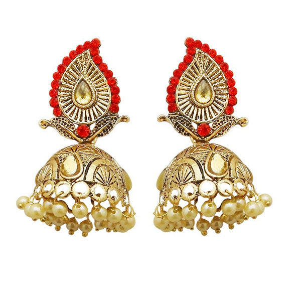 Kriaa Gold Plated Red Austrian Stone Jhumki Earrings