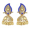 Kriaa Gold Plated Blue Austrian Stone Jhumki Earrings