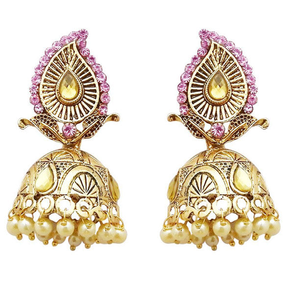 Kriaa Gold Plated Pink Austrian Stone Jhumki Earrings