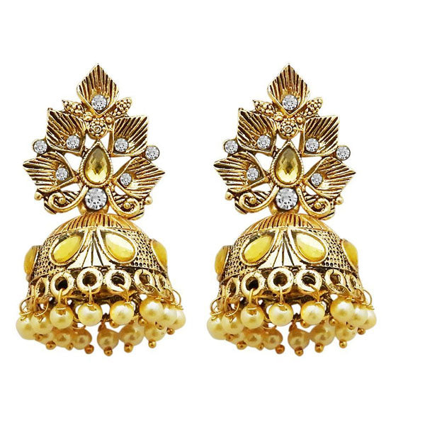 Kriaa Gold Plated White Austrian Stone Jhumki Earrings