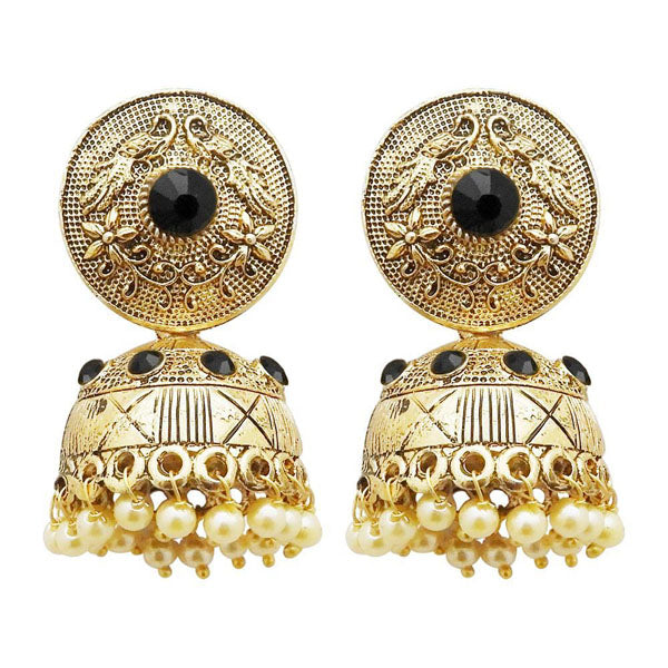 Kriaa Gold Plated Black Austrian Stone Jhumki Earrings