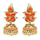Kriaa Gold Plated Orange Austrian Stone Jhumki Earrings