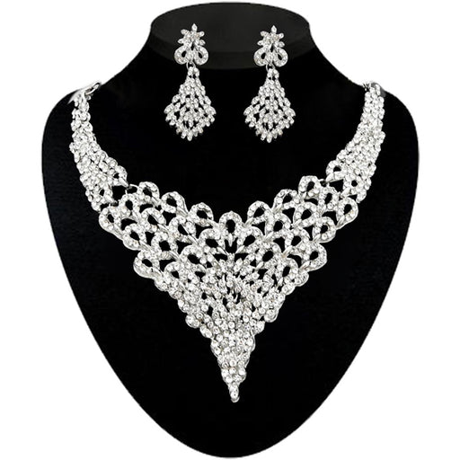 Kriaa Silver Plated White Stone Necklace Set