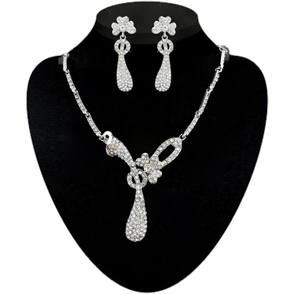 Kriaa Silver Plated Austrian Stone Necklace Set