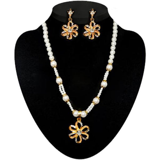 Kriaa Stone & Pearl Gold Plated Necklace Set - 2105506 - ES