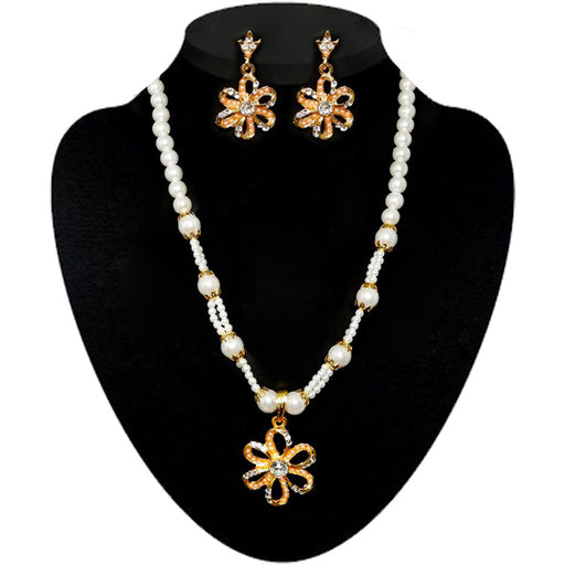Kriaa Stone & Pearl Gold Plated Necklace Set
