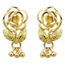 Kriaa Gold Plated Zinc Alloy Rose Design Dangler Earring