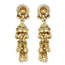 Kriaa Brown Stone Gold Plated Jhumki Earrings