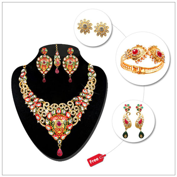 Buy 1 Necklace Set And Get 3 Jewellery Free By Kriaa