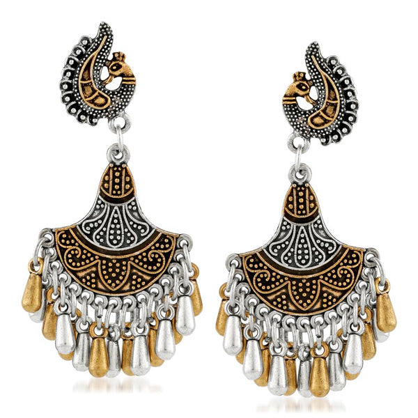Kriaa Two Tone Plated Peacock Jhumki Earrings