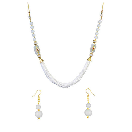 Kriaa Gold Plated White Beads Kundan Necklace Set