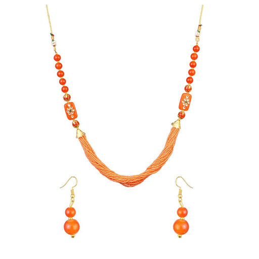 Kriaa Orange Beads Kundan Necklace Set