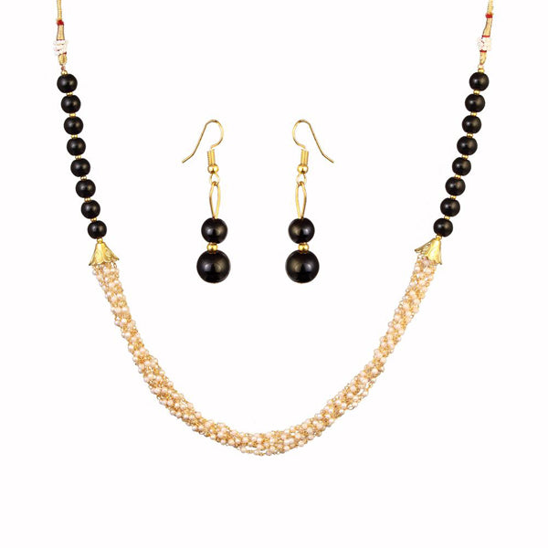 Kriaa Black Beads Gold Plated Necklace Set