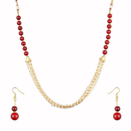 Kriaa Maroon Beads Gold Plated Necklace Set