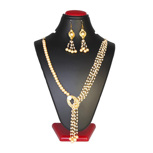 Kriaa Zinc Alloy Gold Plated Beads Necklace Set